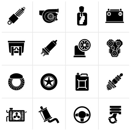 brake disc: Black Car part and services icons  - vector icon set