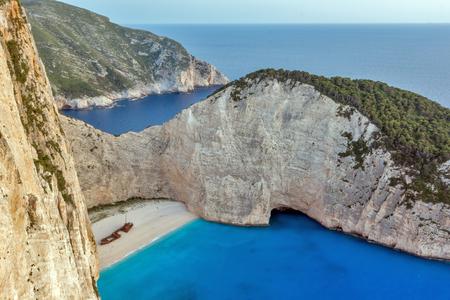 shipwreck: Blue waters of Navagio Shipwreck beach, Zakynthos, Greece