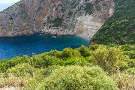 zakynthos: Blue water and rocks of beach at Zakynthos island, Greece