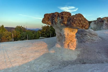 Amazing Sunrise at a rock formation The Stone Mushrooms near Beli plast village, Kardzhali Region, Bulgaria