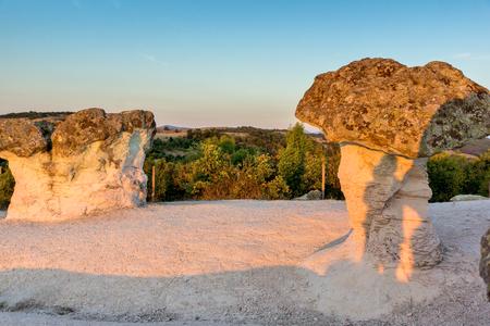 Prodigy: Sunrise Panorama of rock formation The Stone Mushrooms, Kardzhali Region, Bulgaria Zdjęcie Seryjne