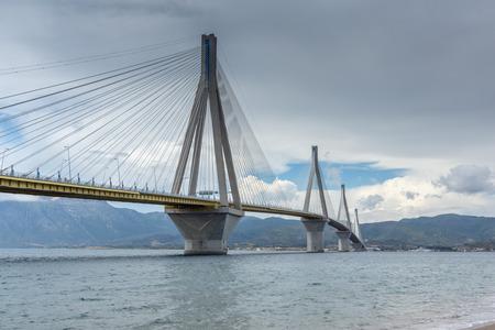 peloponnes: Panorama of The cable bridge between Rio and Antirrio, Patra, Western Greece Stock Photo