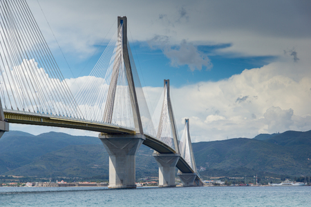 Seascape with The cable bridge between Rio and Antirrio, Patra, Western Greece Stock Photo