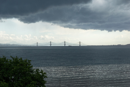 peloponnes: Panorama of The cable bridge between Rio and Antirrio from Nafpaktos, Patra, Western Greece