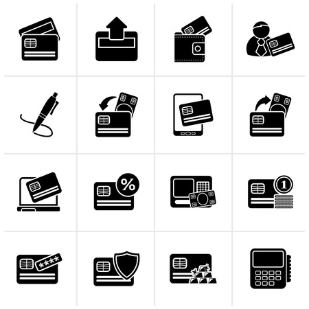 cardholder: Black credit card, POS terminal and ATM icons - vector icon set Illustration