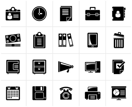 business supplies: Black Business and office supplies icons - vector icon set
