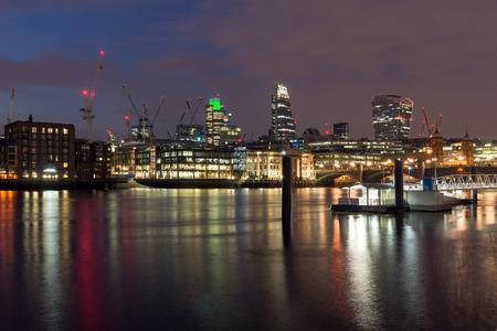 great britain: Panoramic night skyline of city of London, England, Great Britain Stock Photo