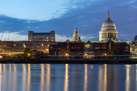Amazing view of St. Pauls Cathedral from Thames river, London, England, Great Britain