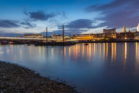 Amazing Night panorama of Blackfriars Bridge and Thames River, London, England, Great Britain Stock Photo