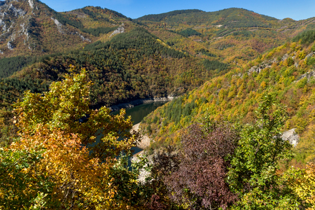 Autumn Panorama of Tsankov kamak Reservoir, Smolyan Region, Bulgaria