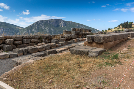 Panorama and Ruins of Ancient Greek archaeological site of Delphi,Central Greece