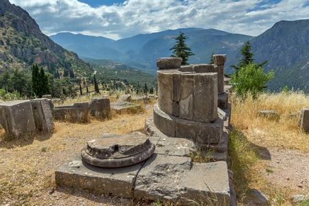 delphi: Panorama of Ancient Greek archaeological site of Delphi,Central Greece