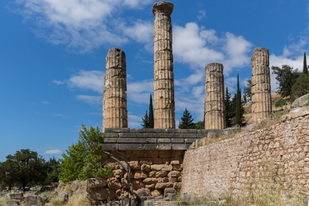 corinthian column: Columns in The Temple of Apollo in Ancient Greek archaeological site of Delphi,Central Greece Stock Photo