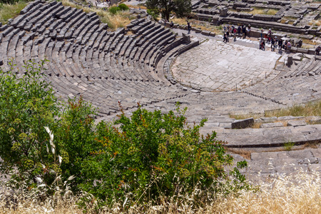 delphi: Panorama of ruins in Ancient Greek archaeological site of Delphi,Central Greece
