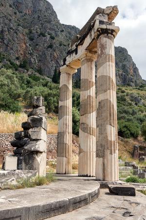 athena: Close up view Athena Pronaia Sanctuary at Ancient Greek archaeological site of Delphi, Central Greece