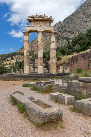 Ruins and Athena Pronaia Sanctuary at Ancient Greek archaeological site of Delphi, Central Greece