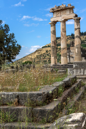 Panoramic view of Ruins and Athena Pronaia Sanctuary at Ancient Greek archaeological site of Delphi, Central Greece