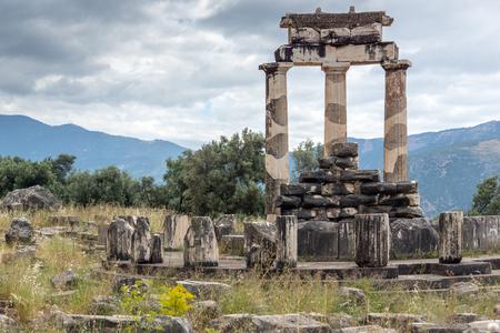 delphi: Colums in Athena Pronaia Sanctuary at Ancient Greek archaeological site of Delphi, Central Greece