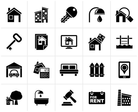 real estate business: Black Real Estate business Icons - Vector Icon Set