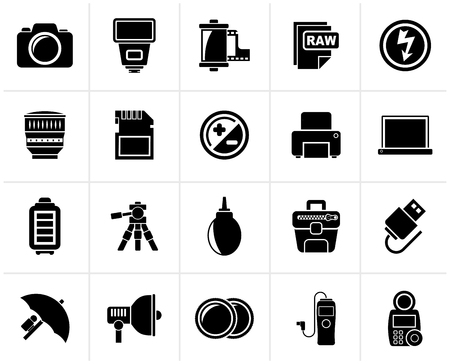 photography icons: Black Camera equipment and photography icons - Vector Icon Set