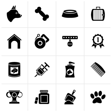 cynology: Black Dog and Cynology object icons - vector icon set Illustration