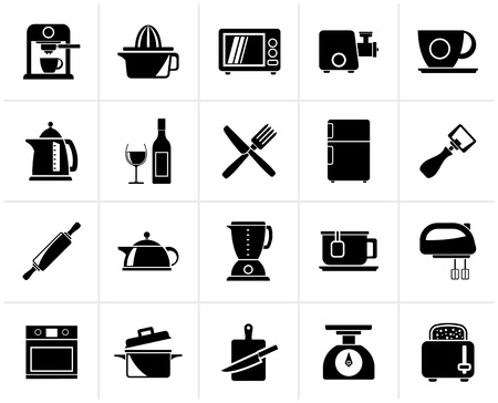 objects equipment: Black Kitchenware objects and equipment icons - vector icon set