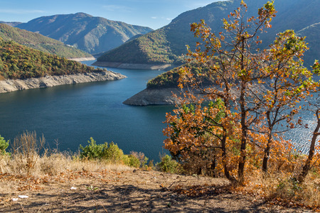 cascade: Autumn landscape of Meander of Vacha (Antonivanovtsy) Reservoir, Rhodopes Mountain, Bulgaria