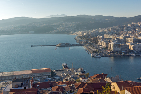 Panoramic view to port of Kavala, East Macedonia and Thrace, Greece