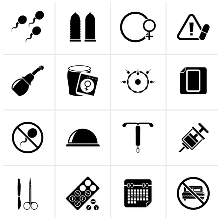 Black Pregnancy and contraception Icons - vector icon set