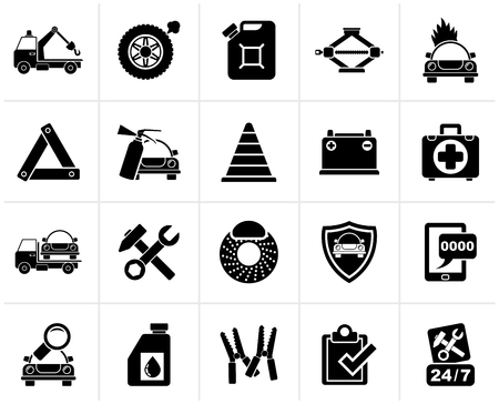 roadside assistance: Black Roadside Assistance and tow  icons  - vector icon set