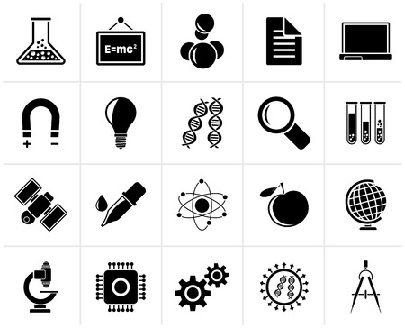 electronics industry: Black Science, Research and Education Icons - Vector Icon set