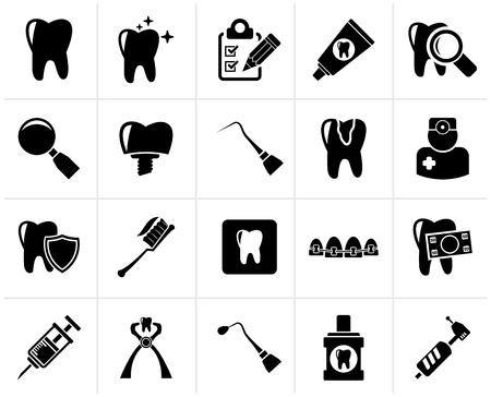 黒歯科医学とツール アイコン - ベクトル アイコンを設定  イラスト・ベクター素材