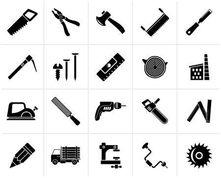 Black Carpentry, logging and woodworking icons - vector icon set