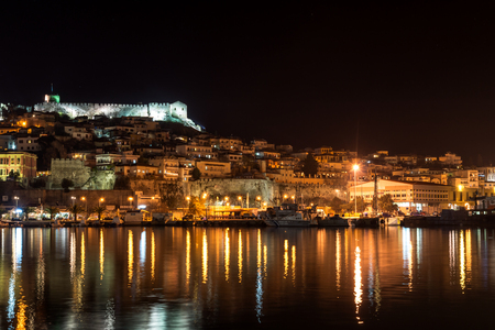 Night photo of Kavala and old town,  East Macedonia and Thrace, Greece