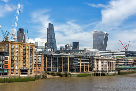 LONDON, ENGLAND - JUNE 15 2016: Panorama with Modern business building in City of London, England, Great Britain
