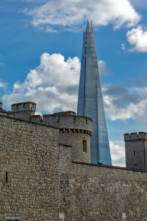 LONDON, ENGLAND - JUNE 15 2016: Tower of London and The Shard, London, England, Great Britain Editorial