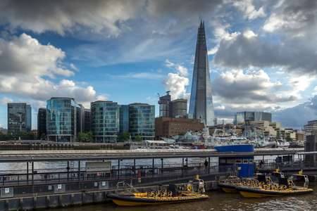 shard: LONDON, ENGLAND - JUNE 15 2016: Panorama with The Shard skyscraper from Thames river, England, Great Britain Editorial