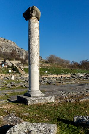 Columns in the archeological area of ancient Philippi, Eastern Macedonia and Thrace, Greece