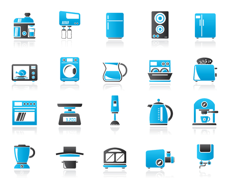 mincer: kitchen appliances and kitchenware icons - vector icon set