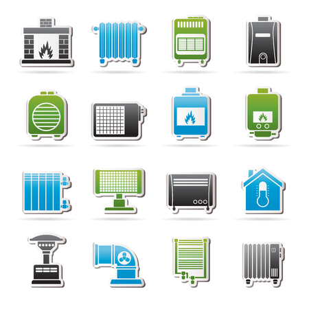 home appliances: Home Heating appliances icons - vector icon set