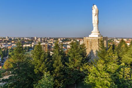 The biggest Monument of Virgin Mary in the world and panorama to City of Haskovo, Bulgaria
