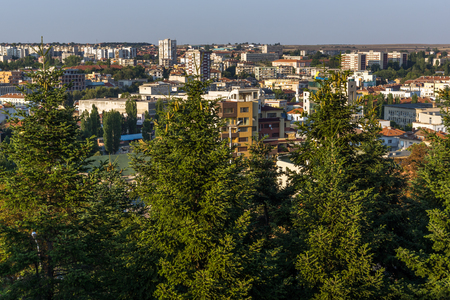 haskovo: Amazing sunset panorama of City of Haskovo from Monument of Virgin Mary, Bulgaria