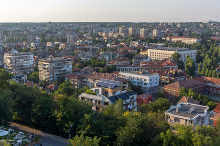 Amazing sunset view of City of Haskovo from Monument of Virgin Mary, Bulgaria