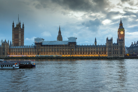LONDON, ENGLAND - JUNE 16 2016: Sunset view of Houses of Parliament, Westminster palace, London, England, Great Britain Editorial