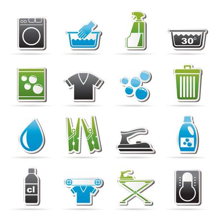 bleach: Black Washing machine and laundry icons - vector icon set