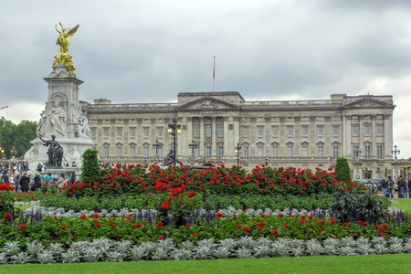 angels fountain: LONDON, ENGLAND - JUNE 17 2016: Panorama of Buckingham Palace in London, England, Great Britain Editorial