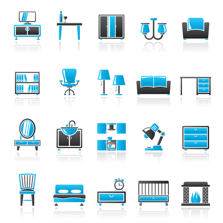 home equipment: furniture and home equipment icons - vector icon set