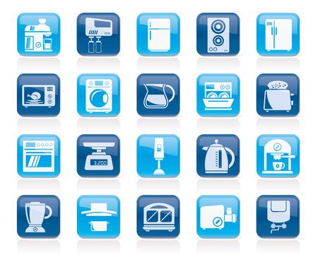 ustensiles de cuisine: kitchen appliances and kitchenware icons - vector icon set