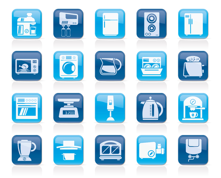 kitchen appliances and kitchenware icons - vector icon set