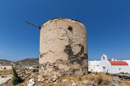ano: Ruins of windmill in Town of Ano Mera, island of Mykonos, Cyclades, Greece